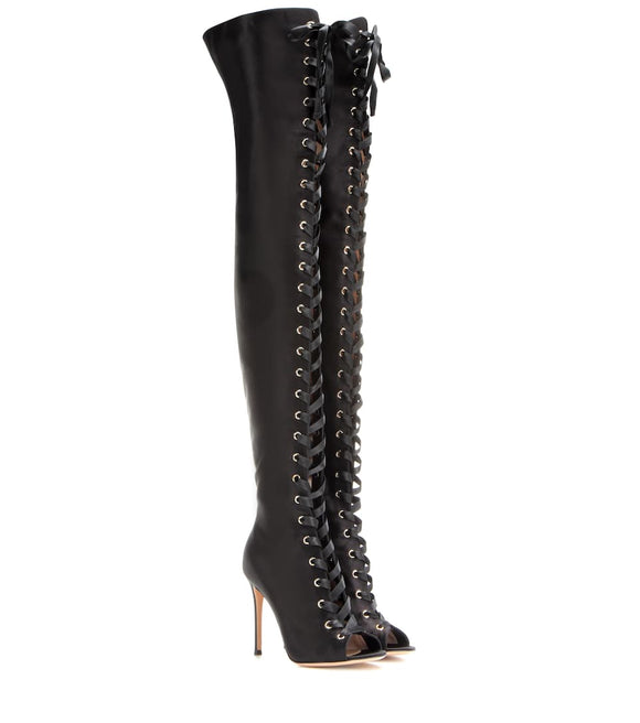 GIANVITO ROSSI Marie Black Lace-up Satin Thigh-High Stiletto Boots Sz 39