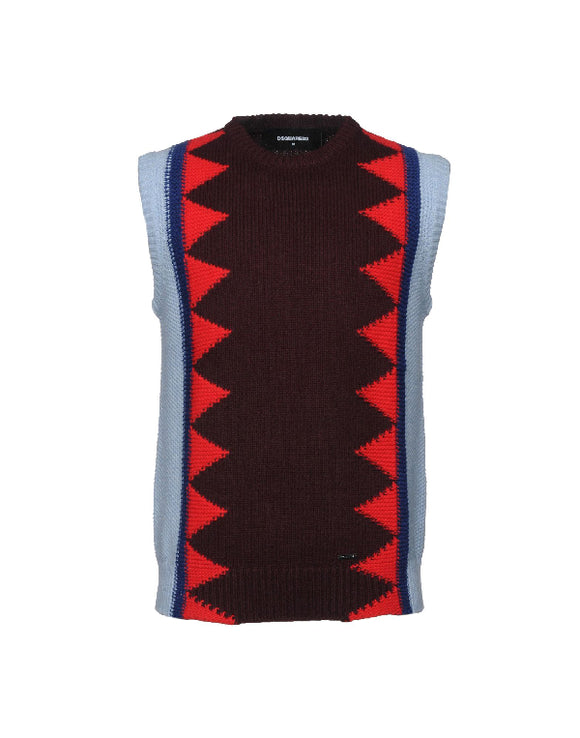 Dsquared2 Geometric Knit Vest Sz XLarge