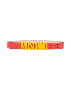 Moschino Fast Food Leather Logo Belt Sz 38