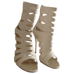 Giuseppe Zanotti White Leather Cut Out Ankle Boots Sz 37.5