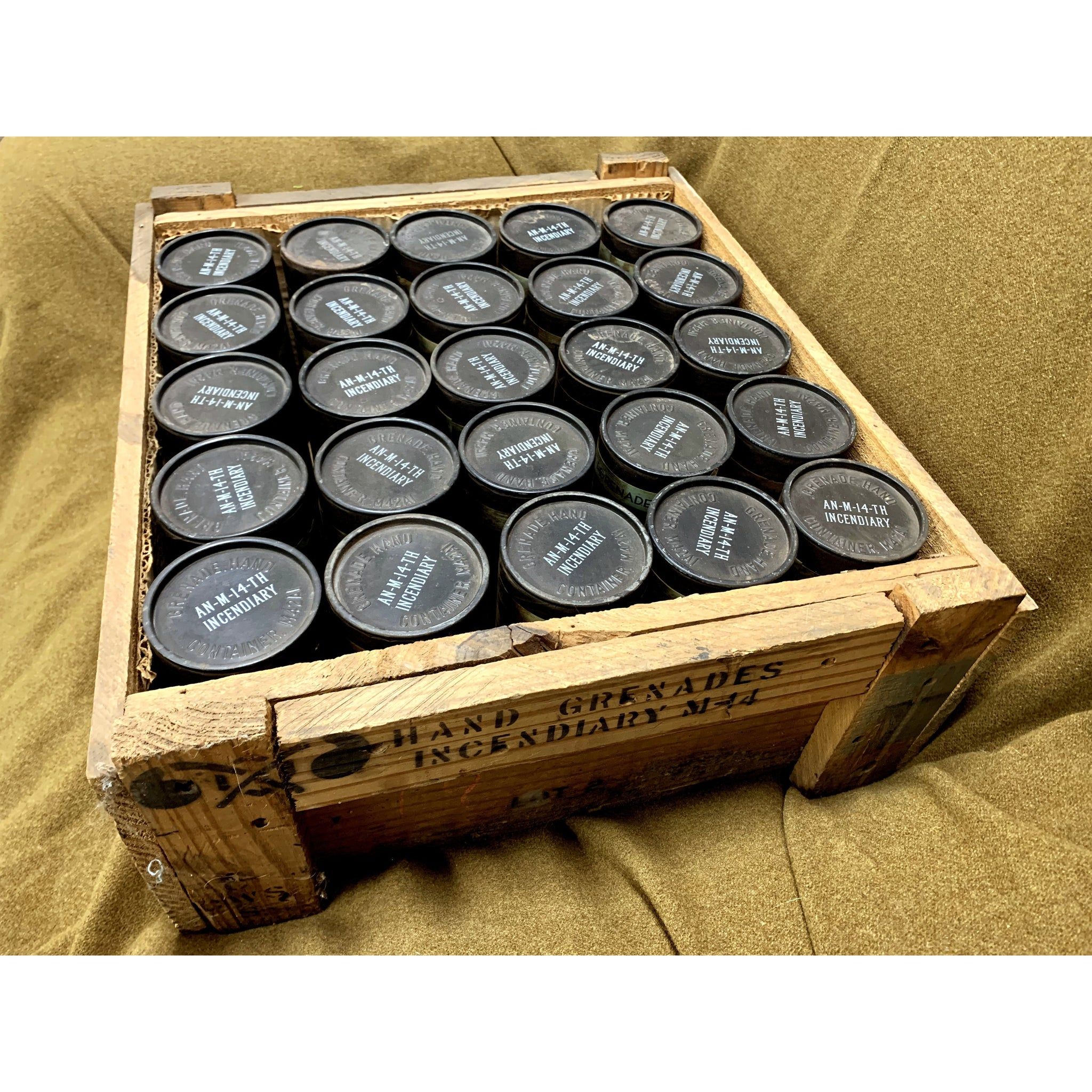 Original AN-M-14-TH Wood Crate & 25 Canisters - Marshall's Arsenal