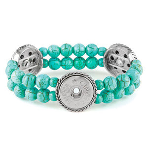 GS Bracelet - 3-Snap Turquoise Stretch