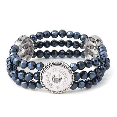 GS Bracelet 3-Snap Stretch Hematite
