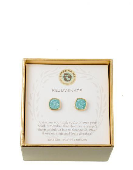 SLV Stud Earrings - Rejuvenate Sea Foam Druzy