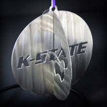 "Load image into Gallery viewer, KSU 4"" Round 3D Stainless Steel Ornament"