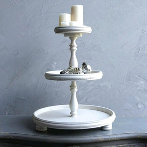 3-Tier Stand Antique White - Wood