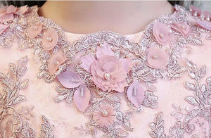 Pink 3D flower custom dress