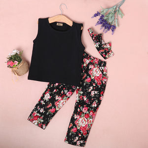 Girl 3pc set with Floral Pants