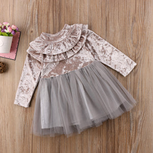Baby Girl Velvet Ruffles Dress