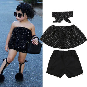 Black with Polka Dot 3pc Set for Girls