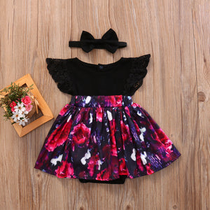 Matching Floral Dress and Romper For Girls