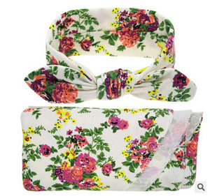 NewbornFloral Swaddle Blanket+ Headband