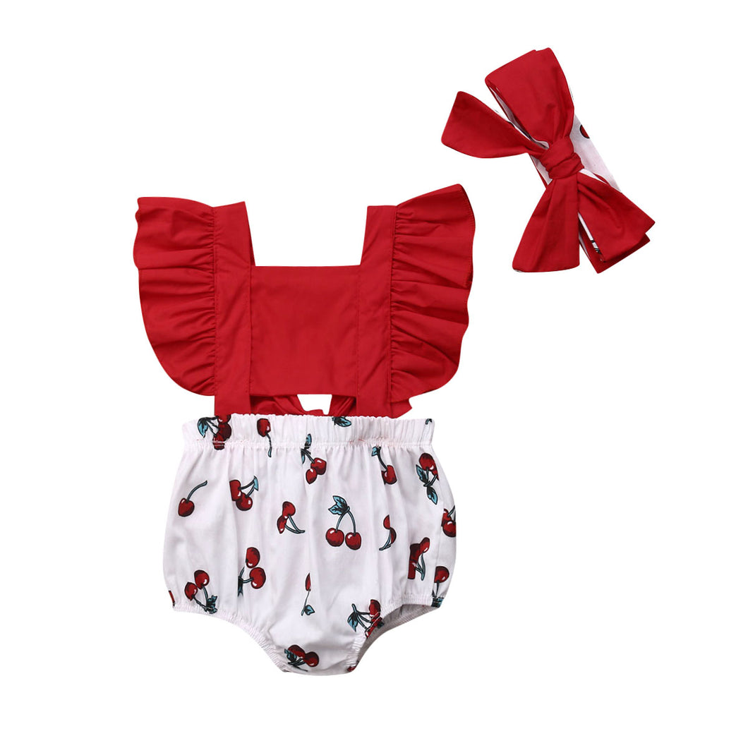 Newborn Baby Girl Ruffle Cherry Romper Headband Sunsuit Outfits Summer Set