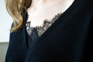 Lace Vee Layered Pullover