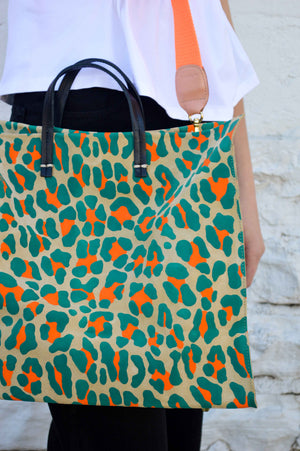 Simple Tote (Neon w/ Orange Strap)