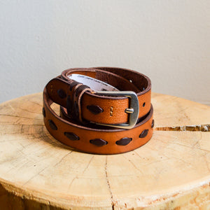 Leather Laced Panel Belt