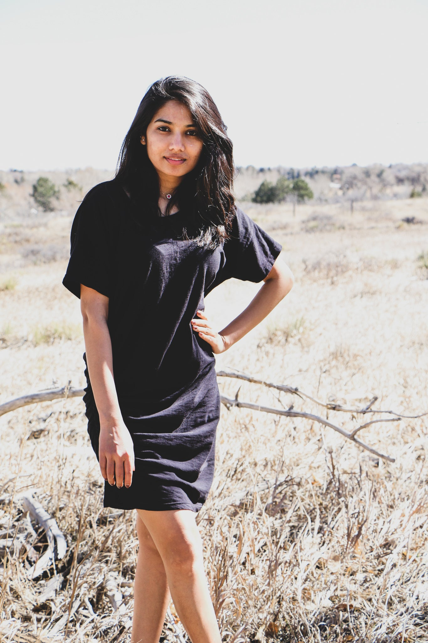 Side Shirred Tee Dress