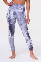Graphic High Rise Midi Legging - Light Gray Tie Dye