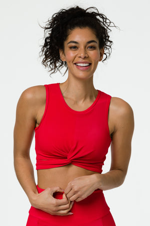 Front Twist Crop Top - Red Rib