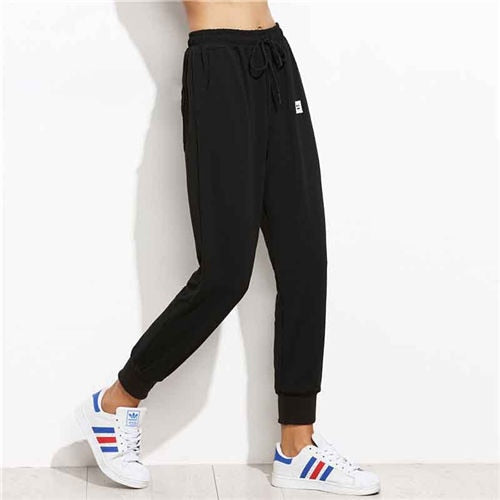 Black Drawstring Fitness Jogging Pants