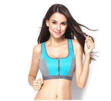 Load image into Gallery viewer, Double Layer Zipper Sports Bra