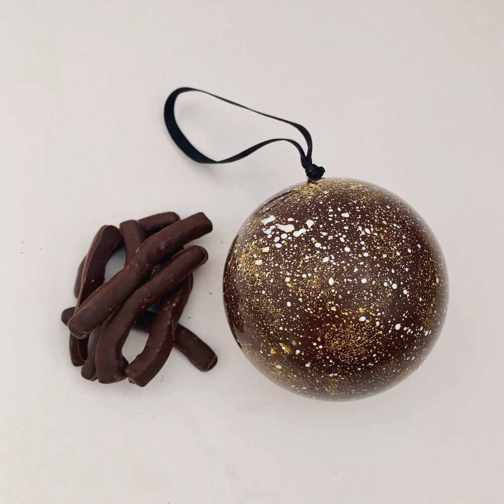 Dark Chocolate Bauble with Chocolate Dipped Orange Peel