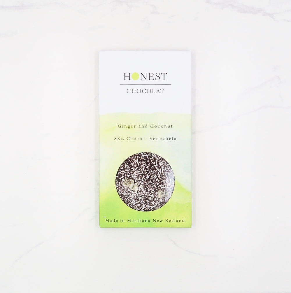 Ginger & Coconut 88% Cacao - Honest Chocolat