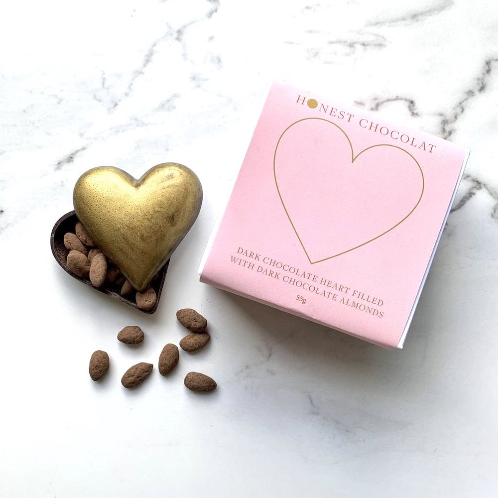 Chocolate Golden Heart - with Chocolate Almonds