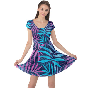 Luxury Fern Design Cap Sleeve Dress - Planet-Winkie