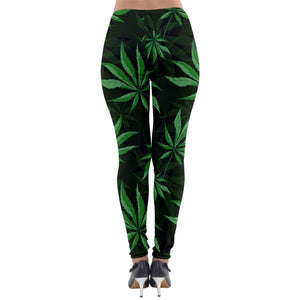 Marijuana Leaf Lightweight Velour Leggings - Planet-Winkie