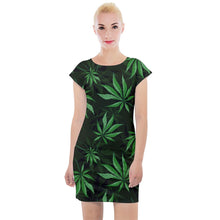 Load image into Gallery viewer, Epic Marijuana Leaf Cap Sleeve Bodycon Dress - Planet-Winkie