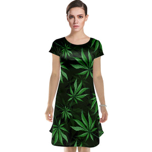 Marijuana Leaf Cap Sleeve Nightdress
