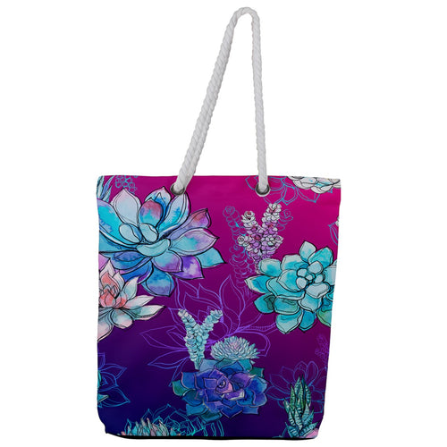 Heat Wave Full Print Rope Handle Tote (Large)
