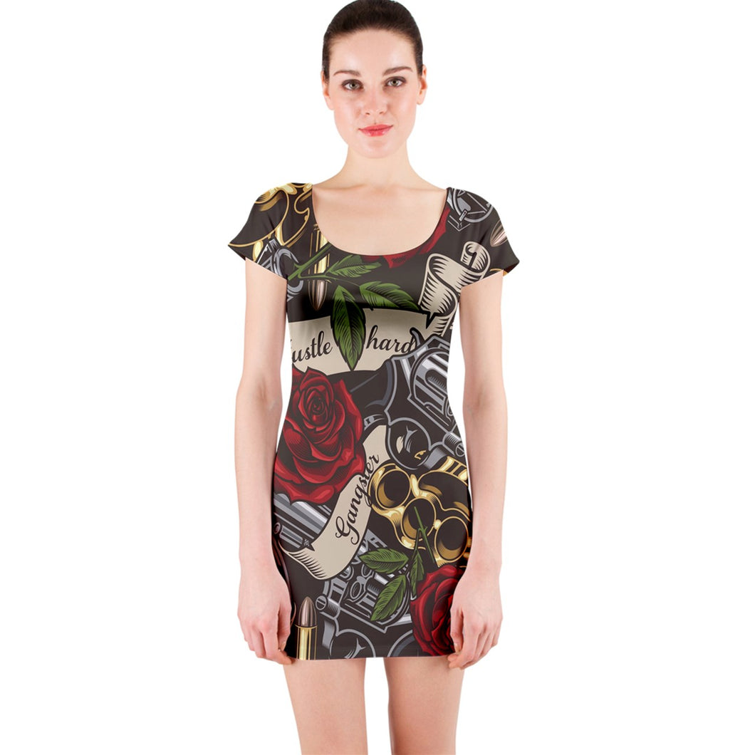 Planet-Winkie Gangsta short sleeve Bodycon Dress