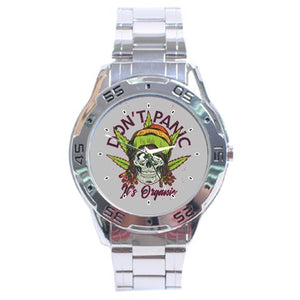 Don't Panic, Its Organic, Marijuana Leaf Stainless Steel Analogue Watch