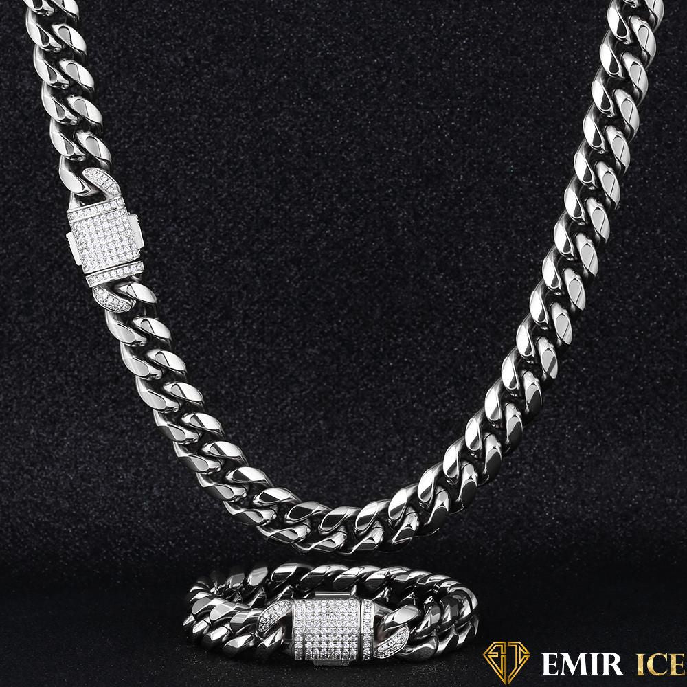 SET DE COLLIER ET BRACELET EMIR CUBAN LINK OR BLANC - 12MM - Emirice.com