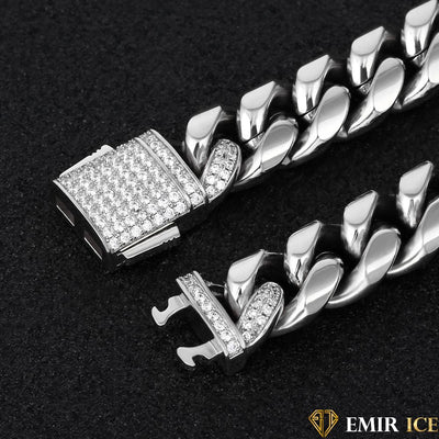 CHAINE EMIR CUBAN LINK OR BLANC 12MM - Emirice.com