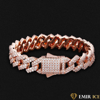 BRACELET EMIR PRONG LINK OR ROSE - 12MM