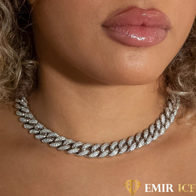 CHAINE MAILLE CUBAINE FEMME OR BLANC - 12MM
