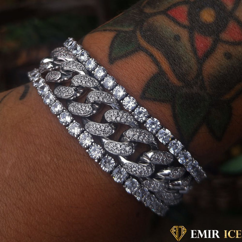 ENSEMBLE DE BRACELET CUBAN LINK & TENNIS OR BLANC - LOT DE 3 - Emirice.com