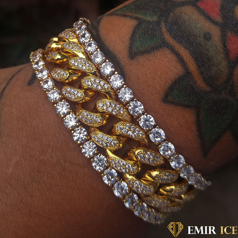 ENSEMBLE DE BRACELET CUBAN LINK & TENNIS OR JAUNE - LOT DE 3 - Emirice.com