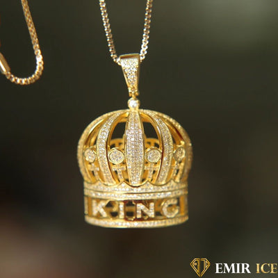 COLLIER PENDENTIF COURONNE KING - Emirice.com