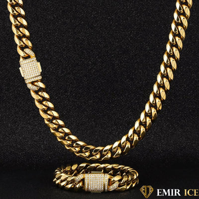 SET DE COLLIER ET BRACELET EMIR CUBAN LINK OR JAUNE - 12MM - Emirice.com