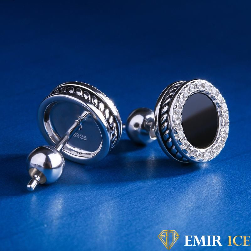ANNEAUX EMIR EARRINGS BLACK & WHITE GOLD - Emirice.com