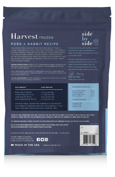 Harvest Frozen | Pork & Rabbit Holistic Pet Food (back)
