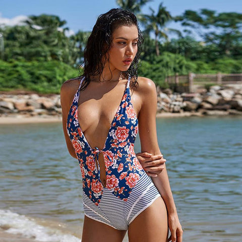 Deep V-neck Low Cut Front Floral Pattern One-piece Swimsuit with Full Coverage Bottom