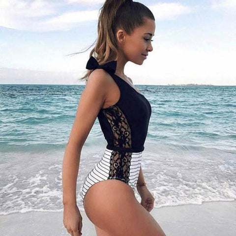 Classy Lace One Shoulder One-piece Swimsuit