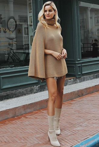 Camel Colored Poncho Sweater Outfit With Batwing Sleeves