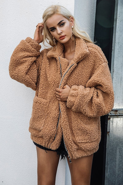 Fur Coat Street Style Faux Fur Sherpa Fur Coat