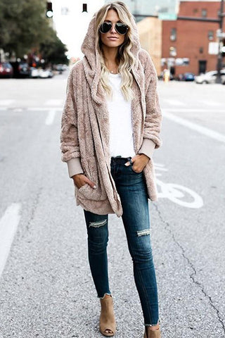 Street Style Sweater Outfit With Faux Fur Jacket and Fall Colors